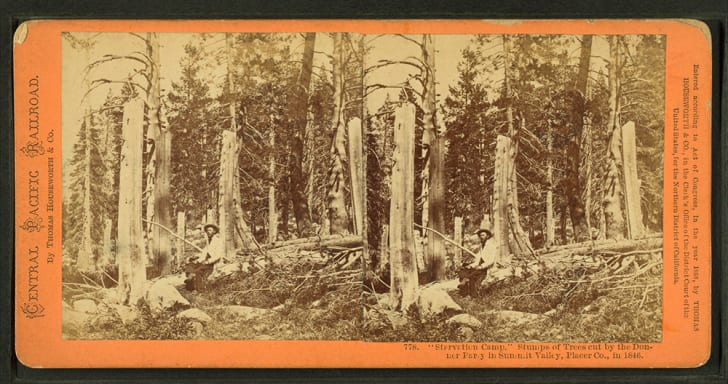 "An old stereograph of the Donner Party's ""Starvation Camp."""
