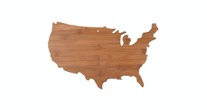 Wooden cutting board in the shape of the U.S. map.