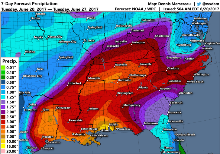 Rain forecasts for Tropical Storm Cindy