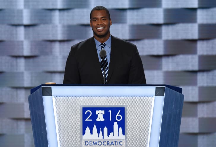 Jason Collins speaks at the 2016 Democratic National Convention