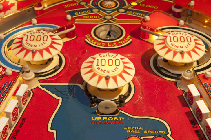 A close-up view of a pinball machine