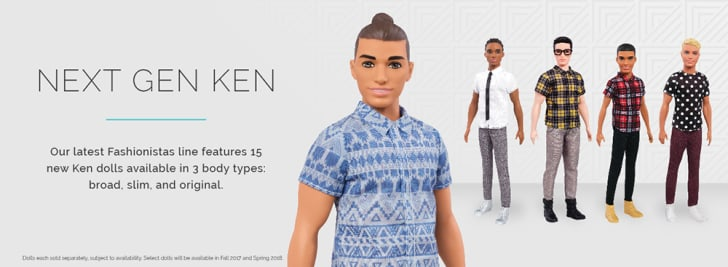 Four different Ken dolls advertised on the Barbie website