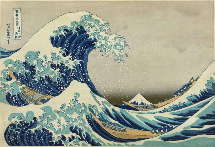 Hokusai's famous print, The Great Wave off Kanazawa, inspired Lichtenstein