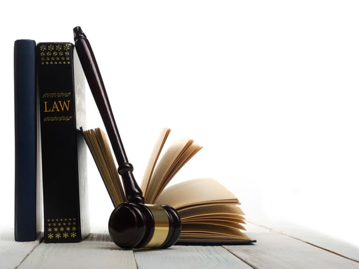 Some law books and a judge's gavel.