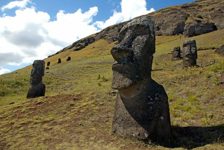 moaisin the hillside of the Rano Raraku volcano in Easter Island