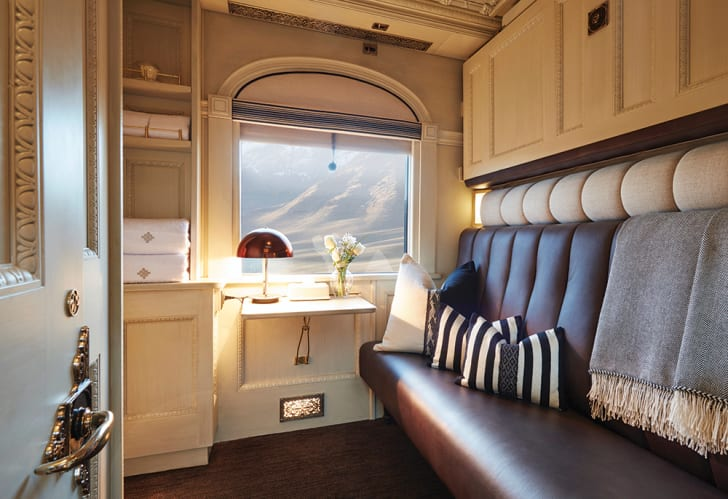 A window seat in a luxury train car