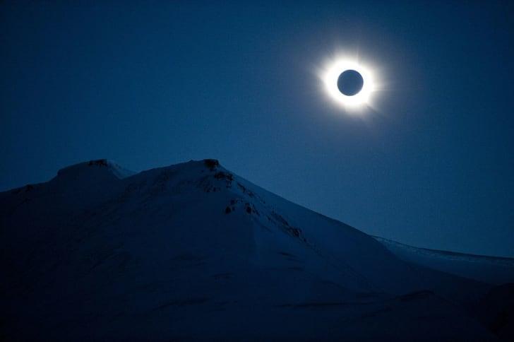 A total solar eclipse in Svalbard, Longyearbyen, Norway