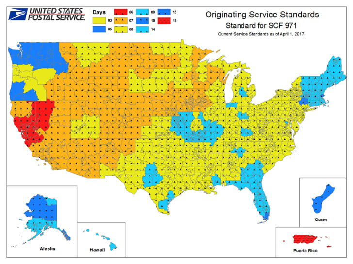 A color-coded map of USPS service standards for mail originating in Portland.