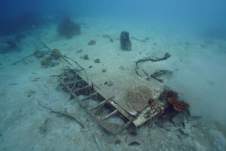 Underwater wreckage of World War II B-25 bomber plane.