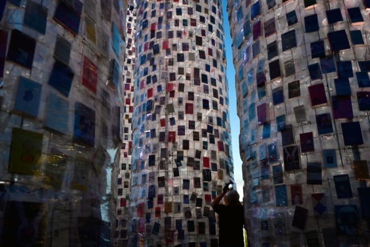 "Marta Minujin's ""The Parthenon of Books"" is built from donated books and displayed at documenta: 14, the international art show in Kassel, Germany."