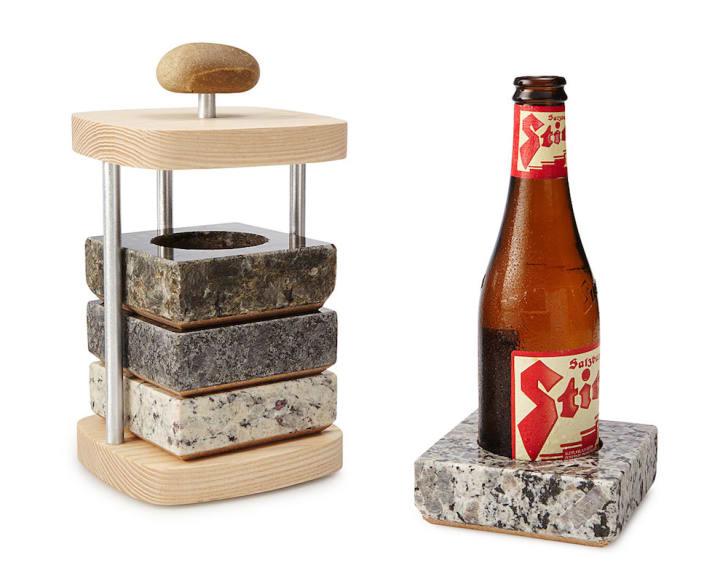 Beer bottle in granite coaster.