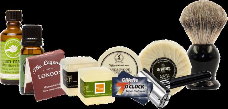 Supplies in shaving kit.