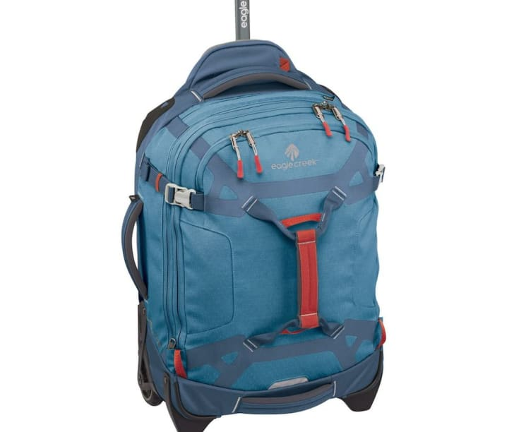 Blue carry-on luggage.