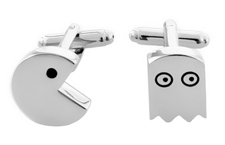 Silver Pac Man and ghost cufflinks.