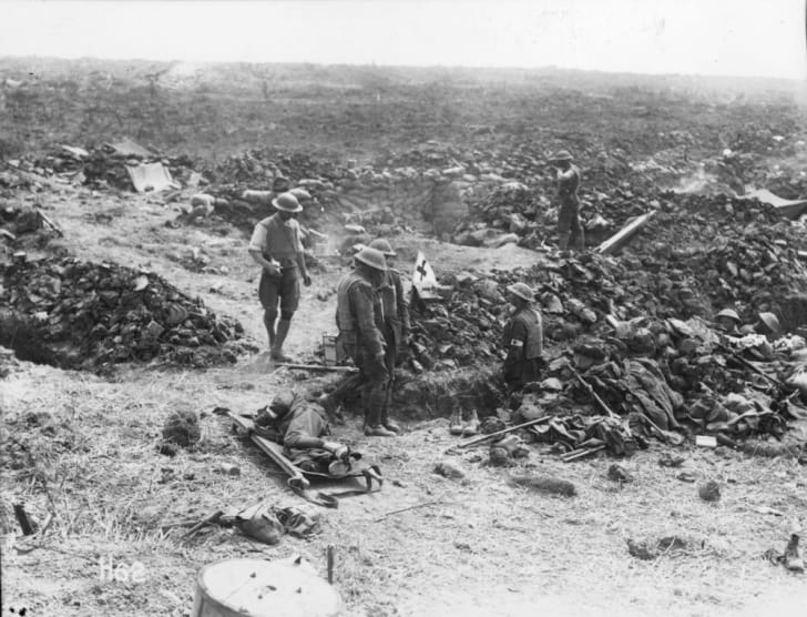 Wounded men during Battle of Messines