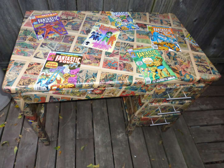 """A """"Fantastic Four""""-themed desk, created by Aimy Wombwell"""