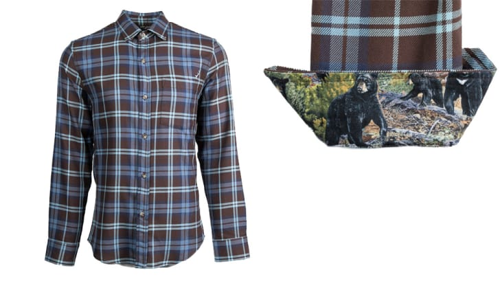 Plaid flannel with wildlife lining.