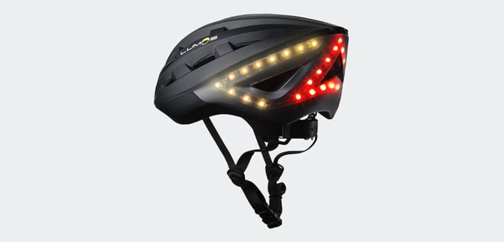 Bike helmet with built-in safety lights.