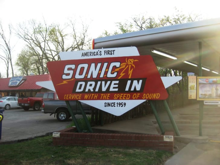 sign at the original sonic drive-in