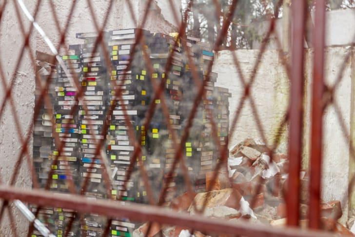 A stack of cassettes await trash pick-up