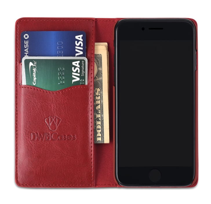 Inside of leather wallet iPhone case.