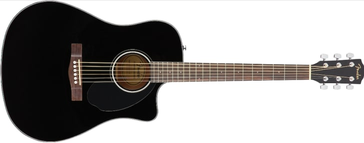 Black Fender acoustic guitar.