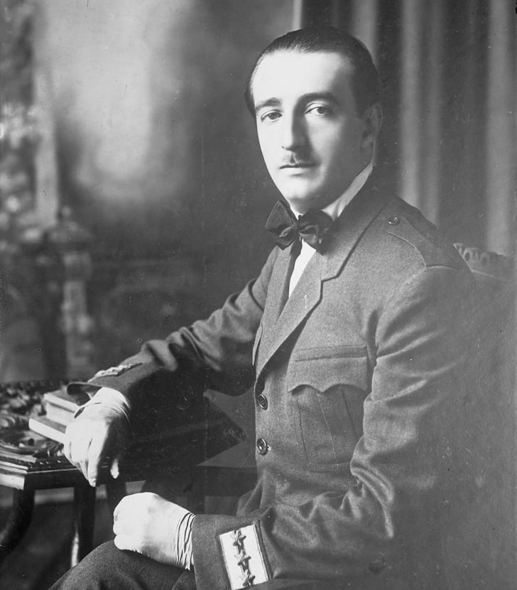 A black and white photo of King Zog of Albania at an unknown date.