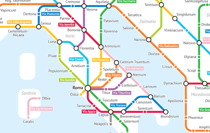 The roads of Italy during the Roman Empire imagines as a subway map.