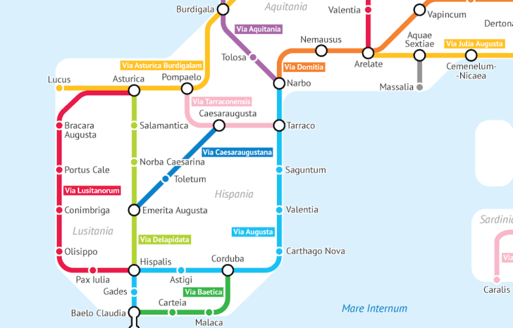 The roads of Spain during the Roman Empire imagines as a subway map.