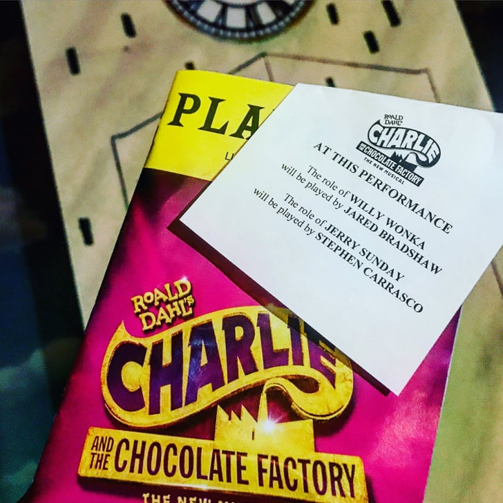 A Charlie and the Chocolate Factory program with an understudy slip.