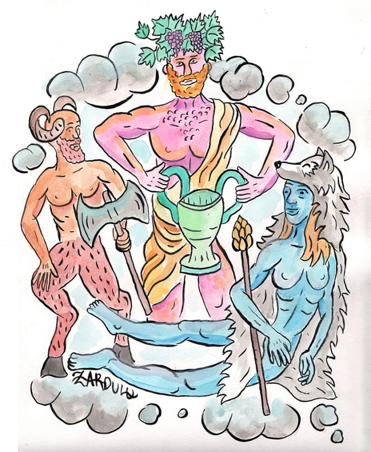 A watercolor depicting the deities of the Dionysian Mysteries by Zardulu