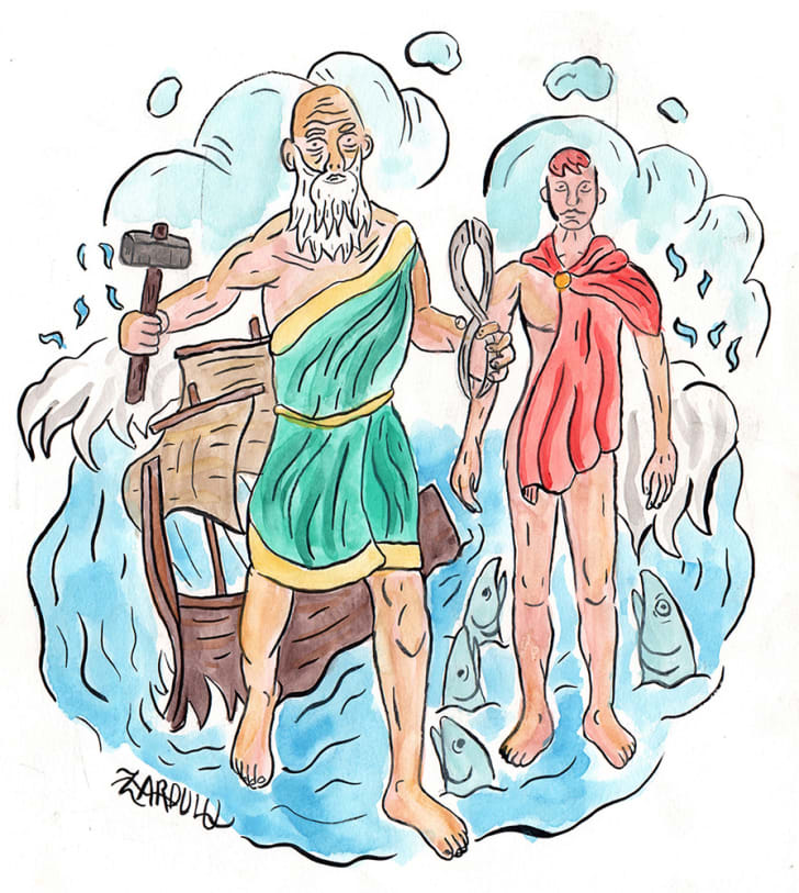 A watercolor of Axiocersu and Cadmilus, part of the Cabeiri Mysteries, by Zardulu.