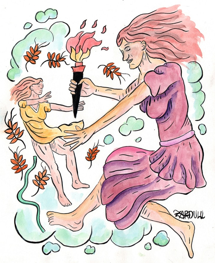 A watercolor of Persephone and Demeter by Zardulu.