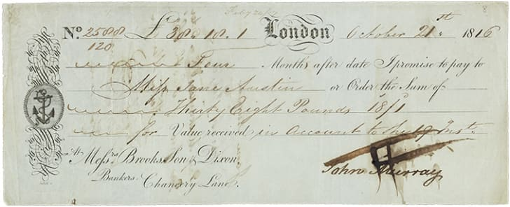 A check from 1816 written in script
