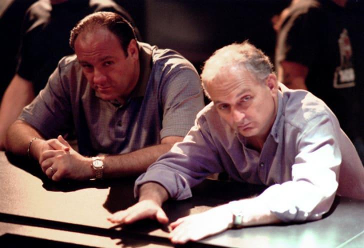 "James Gandolfini and David Chase on the set of ""The Sopranos"""