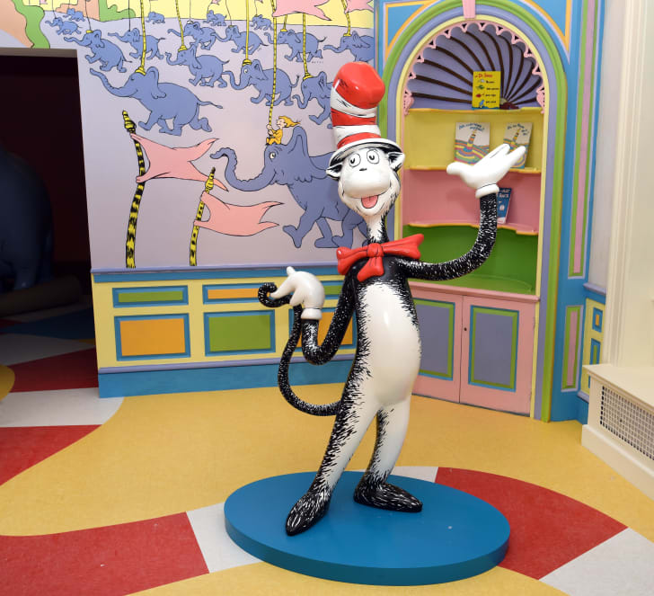 Cat in the Hat statue in the Dr. Seuss museum.