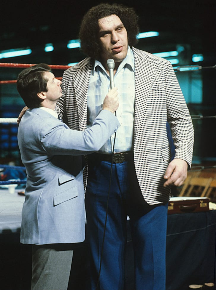 Andre the Giant is interviewed ringside by Vince McMahon