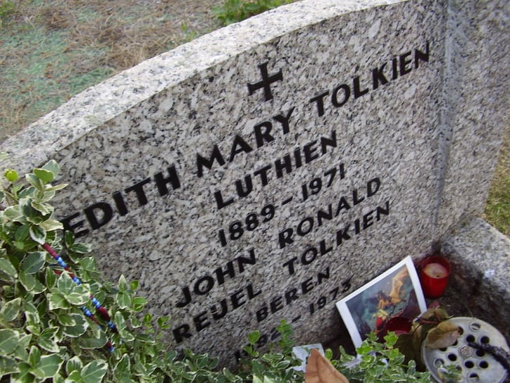 The shared gravestone of J.R.R. and Edith Tolkien.