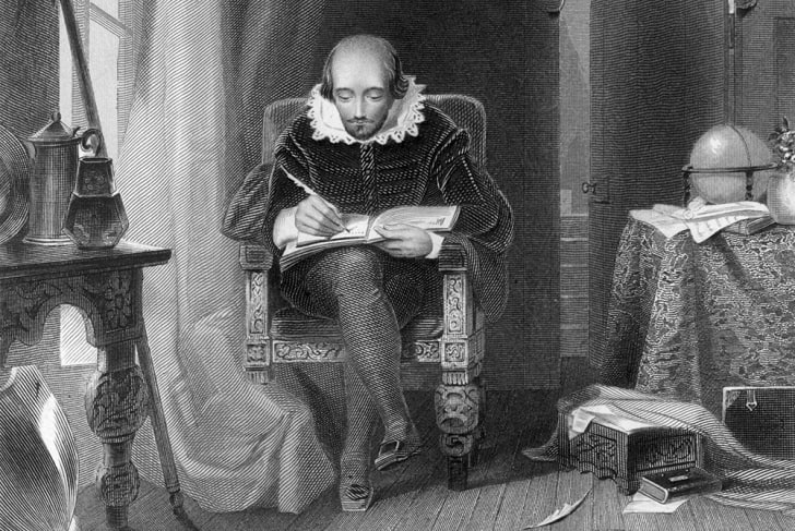 A sketch of author William Shakespeare writing while seated in a chair
