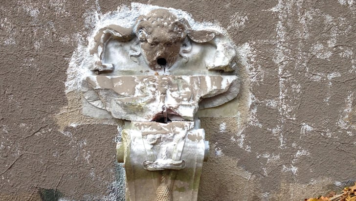 A photograph of a fountain in the ruined former estate of King Zog I of Albania
