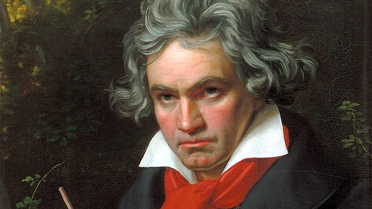 A painting of composer Ludwig van Beethoven.