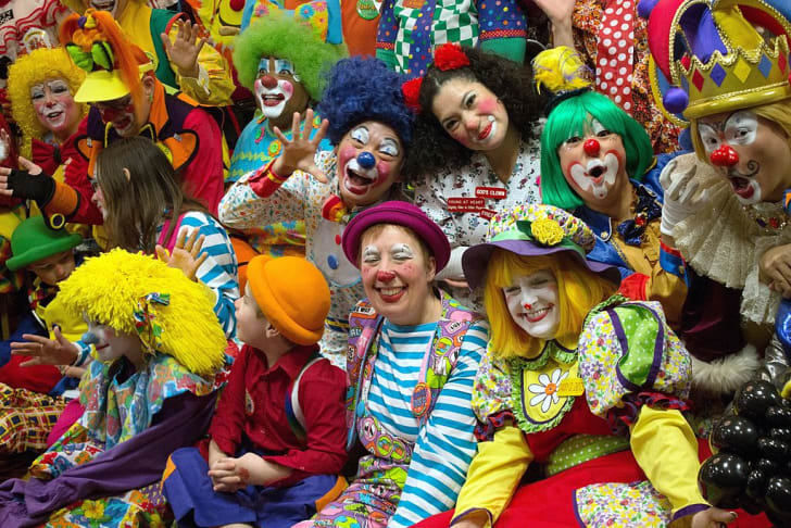 A giggle of clowns convene for a professional gathering