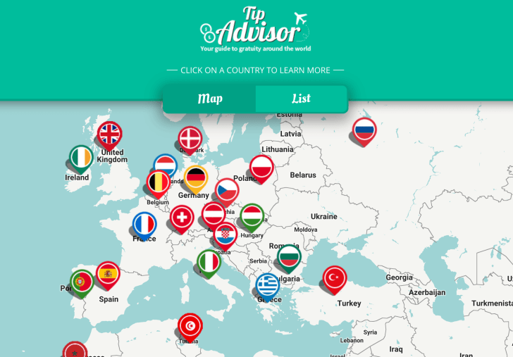 A Google Map with flag pins corresponding to each country in Europe