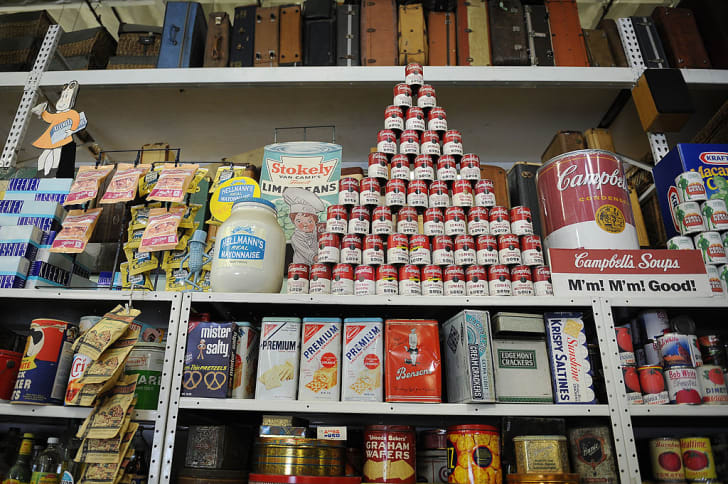 Soup cans and other mid-century food and daily items at the History For Hire prop house in North Hollywood, California