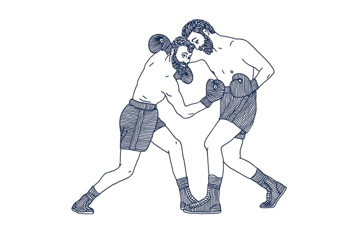 Blue line drawing of two man in shorts boxing