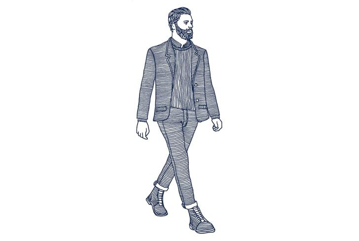 Blue line drawing of Walt Whitman walking