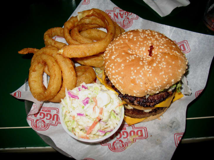 Burger and fries from Duggan's Irish Pub.