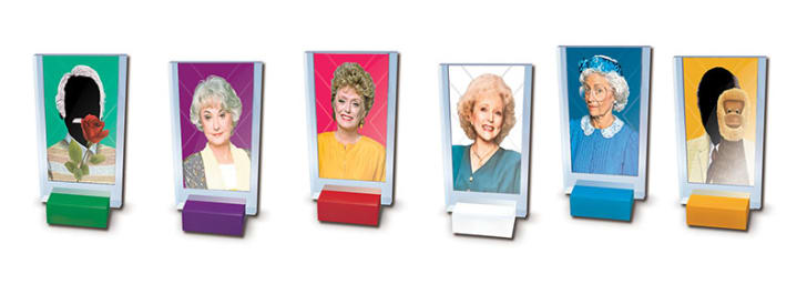 Playable character cards in Golden Girls Clue.