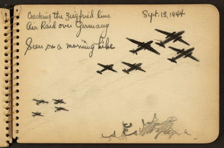 Sketch of World War II planes.