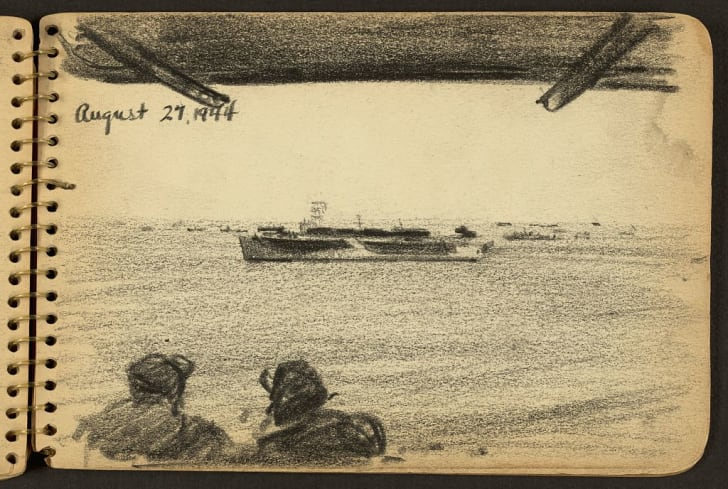 Sketch of soldiers looking at distant ship.